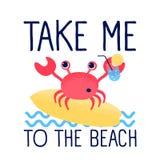 Cartoon cute crab and summer illustration vector. stock illustration