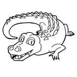 Cartoon cute crocodile coloring page vector. Illustration Royalty Free Stock Image