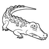 Cartoon cute crocodile coloring page vector stock illustration