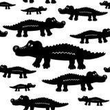 Cartoon cute crocodiles seamless vector pattern. Royalty Free Stock Photography