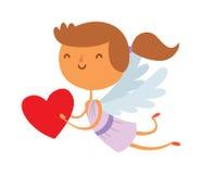 Cartoon cute cupid angel smile girl kid vector silhouette Royalty Free Stock Photos