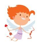 Cartoon cute cupid angel smile girl kid vector silhouette Royalty Free Stock Image