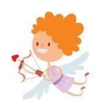 Cartoon cute cupid angel smile girl kid vector silhouette Stock Images