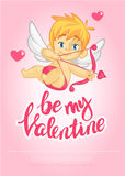 Cartoon cute cupid. Vector illustration card for St Valentine`s Day with lettering title. Stock Photos
