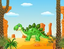 Cartoon cute dinoasur with the desert background Stock Photography