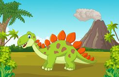 Cartoon cute dinosaur in the jungle Royalty Free Stock Images