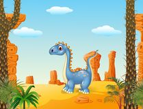 Cartoon cute dinosaur with prehistoric background Royalty Free Stock Photo