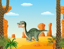 Cartoon cute dinosaur withprehistoric t background Royalty Free Stock Photo