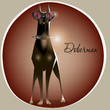 Cartoon cute doberman with pink glasses Royalty Free Stock Photography