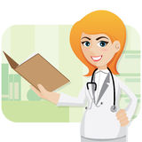 Cartoon cute doctor with folder Stock Photography