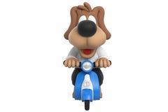 Cartoon cute dog scooter, front view. Cartoon cute dog on blue scooter, front view. 3D rendering Stock Photo