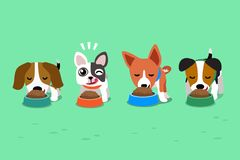 Cartoon cute dogs with food bowls. For design Royalty Free Stock Photography