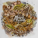 Cartoon cute doodles Africa illustration Stock Photography