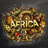 Cartoon cute doodles Africa word. Colorful chalkboard illustration. Background with lots of separate objects. Funny vector artwork royalty free illustration