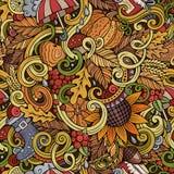 Cartoon cute doodles autumn seamless pattern Royalty Free Stock Photography