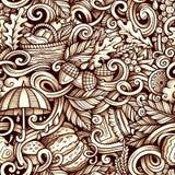 Cartoon cute doodles autumn seamless pattern Stock Photo