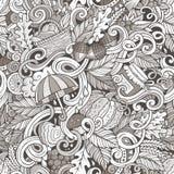 Cartoon cute doodles autumn seamless pattern Royalty Free Stock Photo