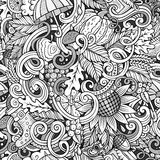 Cartoon cute doodles autumn seamless pattern Stock Images
