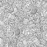 Cartoon cute doodles autumn seamless pattern Royalty Free Stock Photos