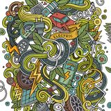 Cartoon cute doodles Electric cars illustration Royalty Free Stock Photos