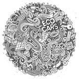 Cartoon cute doodles Electric cars illustration Stock Photos