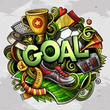 Cartoon cute doodles Goal word. Colorful illustration. Backgroun. D with lots of separate objects. Funny vector artwork royalty free illustration