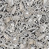 Cartoon cute doodles hairdressing salon seamless pattern. Cartoon line art cute doodles hairdressing salon seamless pattern. Detailed, with lots of objects stock illustration