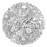 Cartoon cute doodles Halloween inscription Stock Image