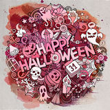 Cartoon cute doodles Halloween inscription Royalty Free Stock Photography