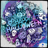 Cartoon cute doodles Halloween inscription Royalty Free Stock Photo