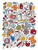 Cartoon cute doodles hand drawn travel illustration. Lots of objects background vector illustration