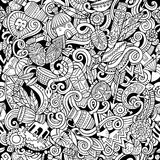 Cartoon cute doodles hand drawn Africa seamless pattern. Line art, detailed, with lots of objects background. Endless funny vector illustration. All objects Royalty Free Stock Photos