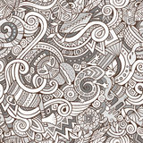 Cartoon cute doodles hand drawn Africa seamless pattern Royalty Free Stock Images