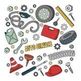 Cartoon cute doodles hand drawn Auto service illustration. Royalty Free Stock Image