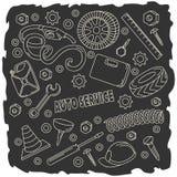 Cartoon cute doodles hand drawn Auto service illustration. Stock Image