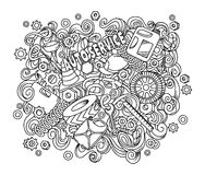 Cartoon cute doodles hand drawn Auto service illustration Royalty Free Stock Images