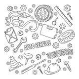 Cartoon cute doodles hand drawn Auto service illustration. Stock Photography