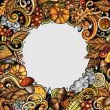 Cartoon cute doodles hand drawn Autumn frame design Royalty Free Stock Image