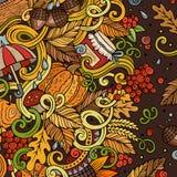 Cartoon cute doodles hand drawn autumn illustration Stock Images
