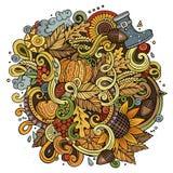 Cartoon cute doodles hand drawn autumn illustration Royalty Free Stock Photo