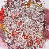 Cartoon cute doodles hand drawn autumn illustration Stock Image