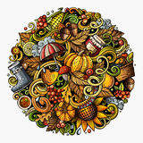 Cartoon cute doodles hand drawn Autumn round illustration. All items are separate. Stock Images
