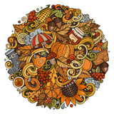 Cartoon cute doodles hand drawn autumn round illustration Royalty Free Stock Images