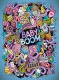 Cartoon cute doodles hand drawn Baby illustration Stock Photography