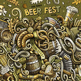 Cartoon cute doodles hand drawn Beer fest frame design Stock Image