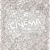 Cartoon cute doodles hand drawn Cinema inscription Royalty Free Stock Photo