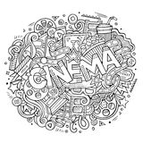 Cartoon cute doodles hand drawn Cinema inscription Royalty Free Stock Photography
