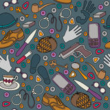 Cartoon cute doodles hand drawn Detective and criminal seamless pattern. Colorful detailed, vector illustration Royalty Free Stock Photography