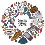 Cartoon cute doodles hand drawn Detective and criminal vector illustration. Stock Photos