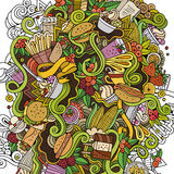 Cartoon cute doodles hand drawn Fastfood illustration Royalty Free Stock Images